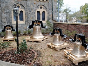 Cast Bronze Bells before installation at Wilmington First Baptist Church