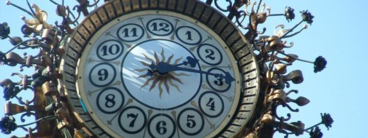 Custom three sided bronze pedestal clock