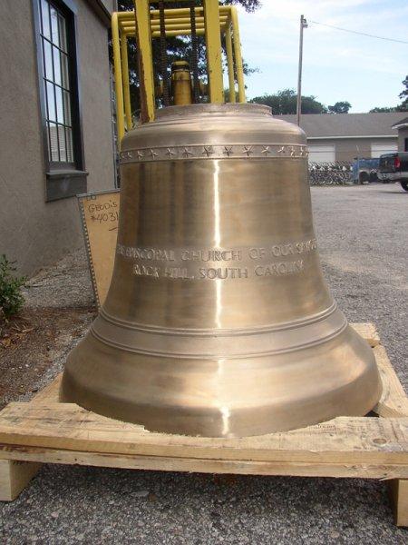New cast bronze bell installation Episcopal Church of Our Saviour, Rock Hill, South Carolina