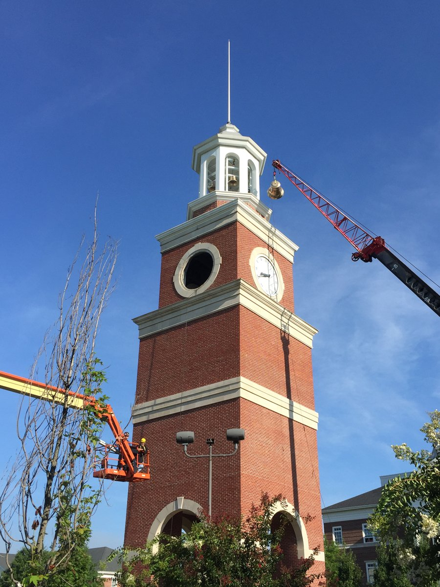 Carillon bell installation in Miller Tower, Union University, Jackson, Tennessee
