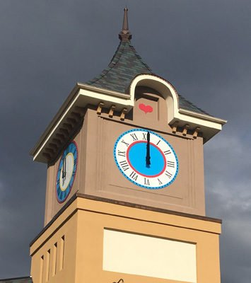 Lovettsville outdoor clock faces profile installation project