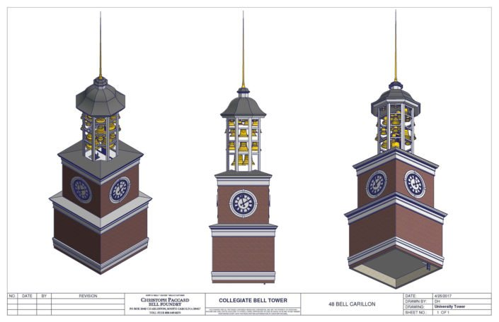 University Tower Design with Clock Face and Carillons