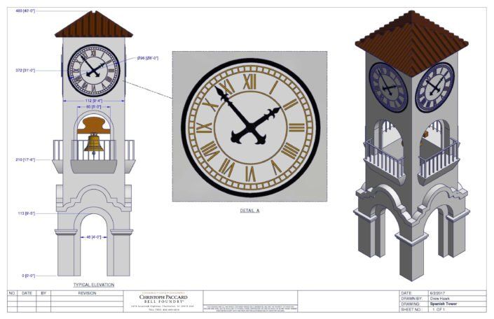 Clock Tower Technical Drawing - The Spanish Tower